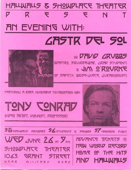 Flier for Gastr Del Sol concert, featuring Tony Conrad, 1996.